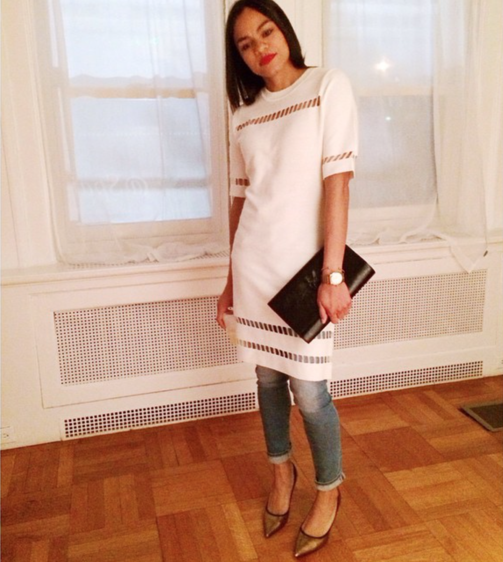 wearing: NastyGal dress, Rich & Skinny Jeans, Giuseppe Zanotti shoes YSL clutch, Burberry watch