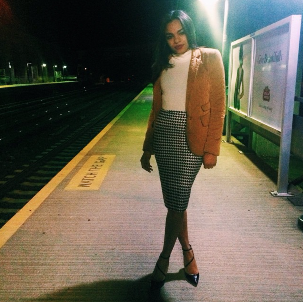 wearing: American Apparel skirt and top, Tia Cibani blazer, Alice & Olivia shoes