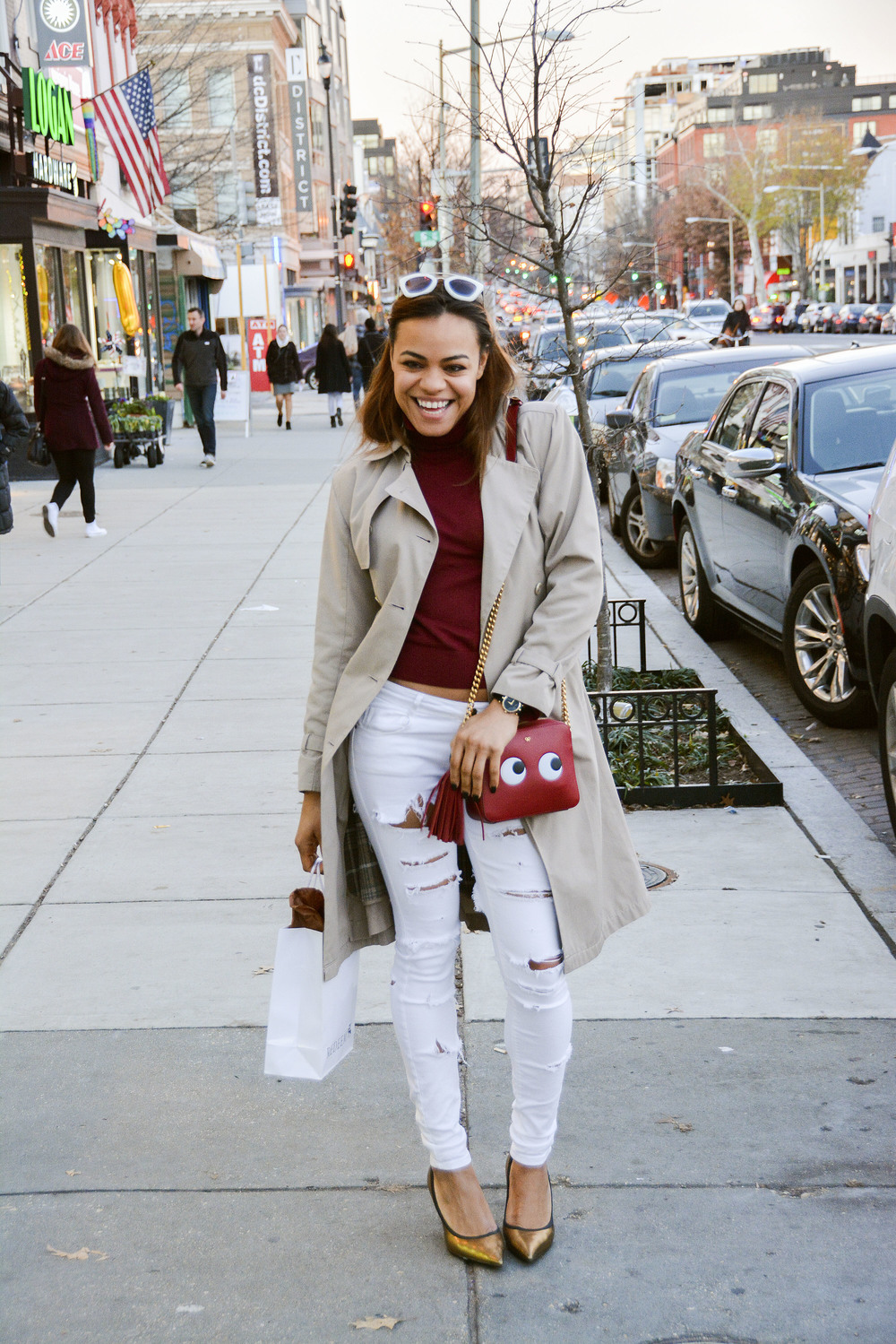 wearing: ZARA jeans, Giuseppe Zanotti shoes, ZARA turtleneck,Anya Hindmarch crossbody bag, Gucci watch, Prada sunnies, shopping bag from Redeem.