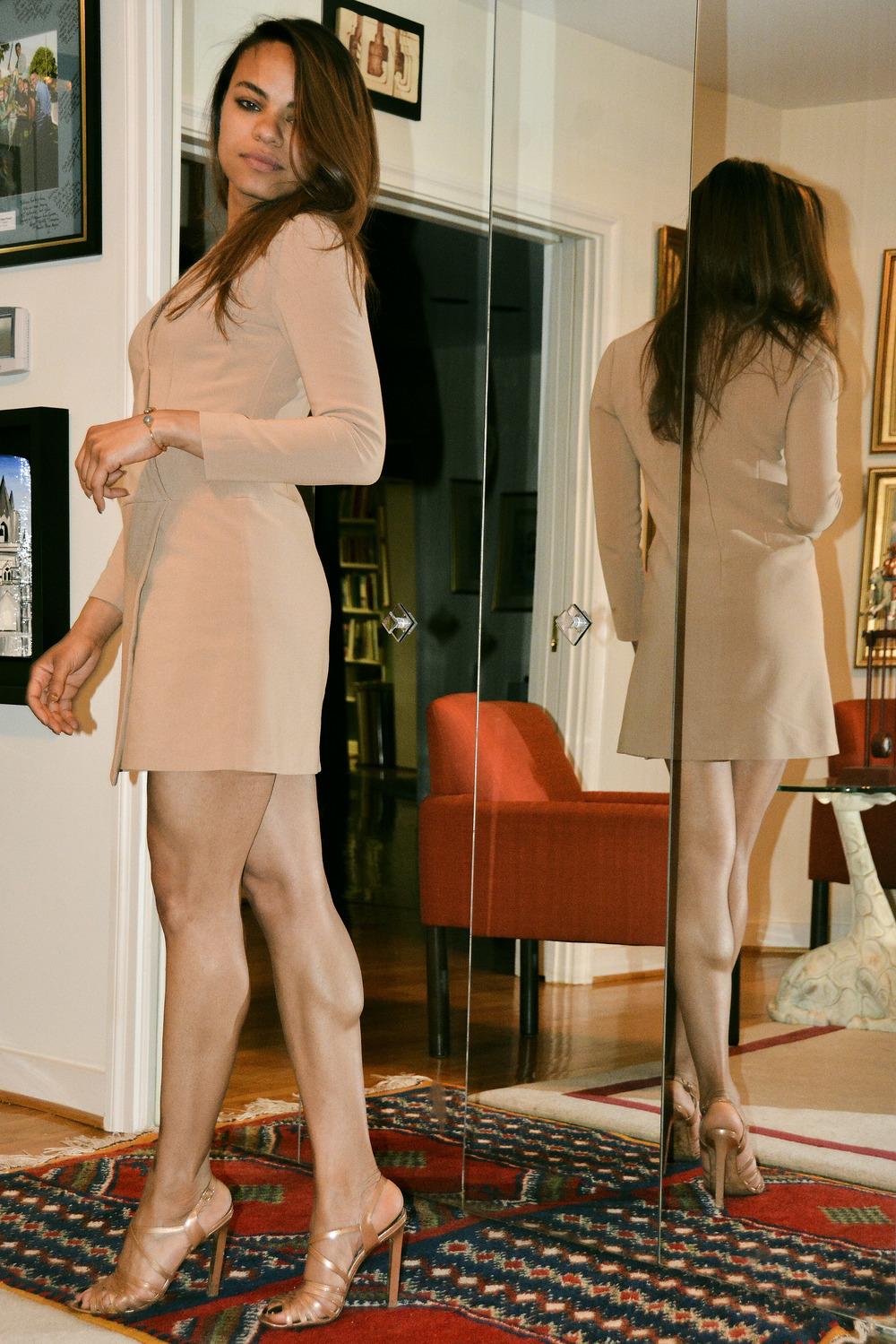 Wearing: Cynthia Steffe dress, Manolo Blahnik heels