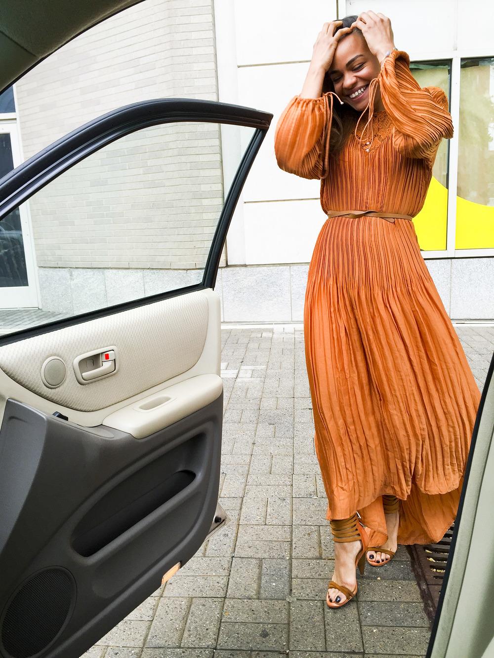 Wearing:  Zaful dress , Rebecca Minkoff heels