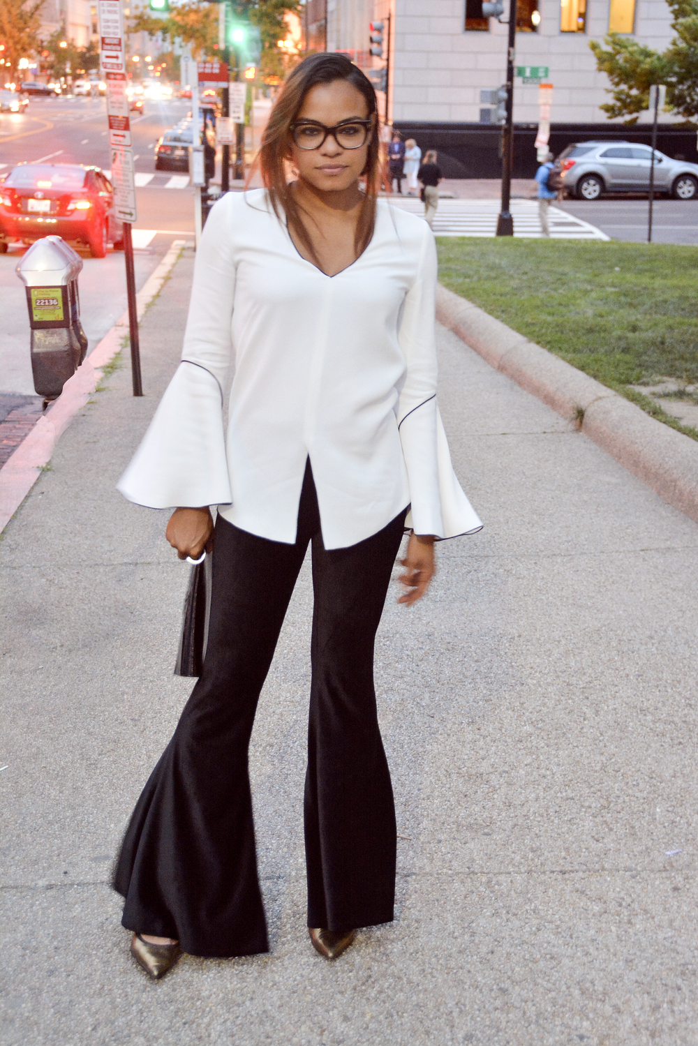 wearing: H&M pants, Derek Lam top, Giuseppe Zanotti heels, Tom Ford eyeglasses.
