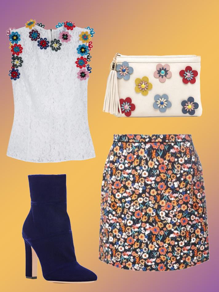 Top: Mary Katrantzou , Skirt:  Dorothy Perkins  Shoes: Gianvito Rossi , Bag:  Go Jane