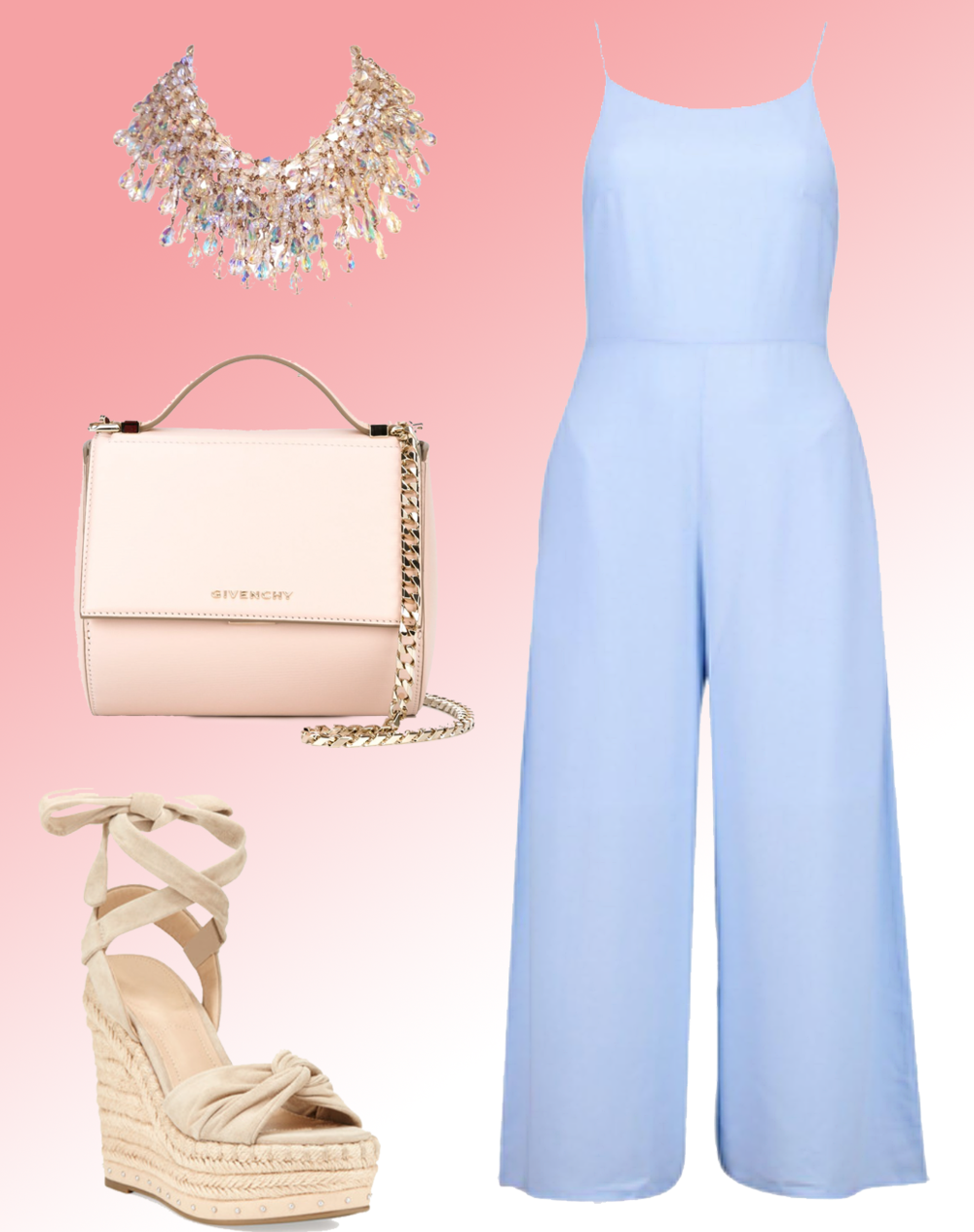 Jumpsuit:  BOOHOO , Shoes:  Kendall & Kylie , Bag:  Givenchy , Necklace:  1st Dibs