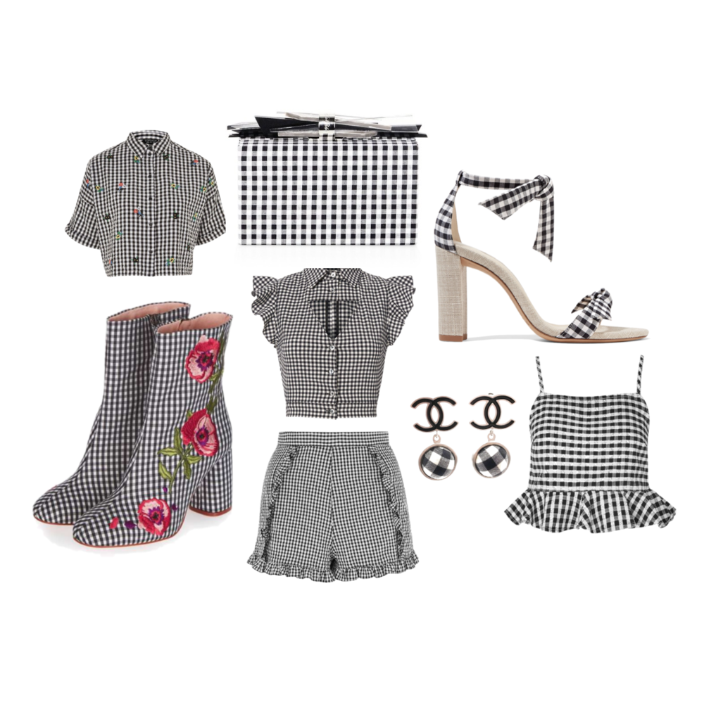 Embroidered Top:  Topshop ,Booties:  Topshop , Shoes:  Net-a-Porter , Earrings:  Chanel , Ruffled top:  Intermix , Shorts:  Topshop ,Clutch:  Saks Fifth Ave , Crop top:  Topshop