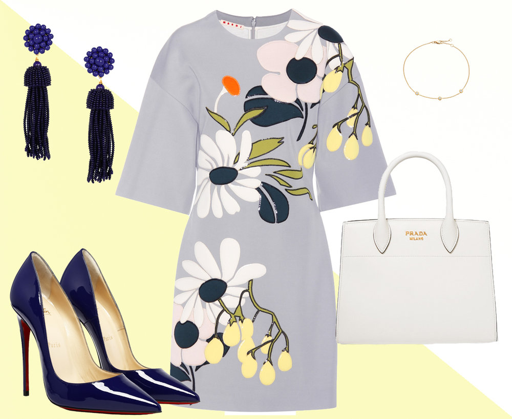 Dress:  Marni , Shoes:  Christian Louboutin , Bag:  Prada , Earrings:  Lisi Lerch , Bracelet:  Winterson
