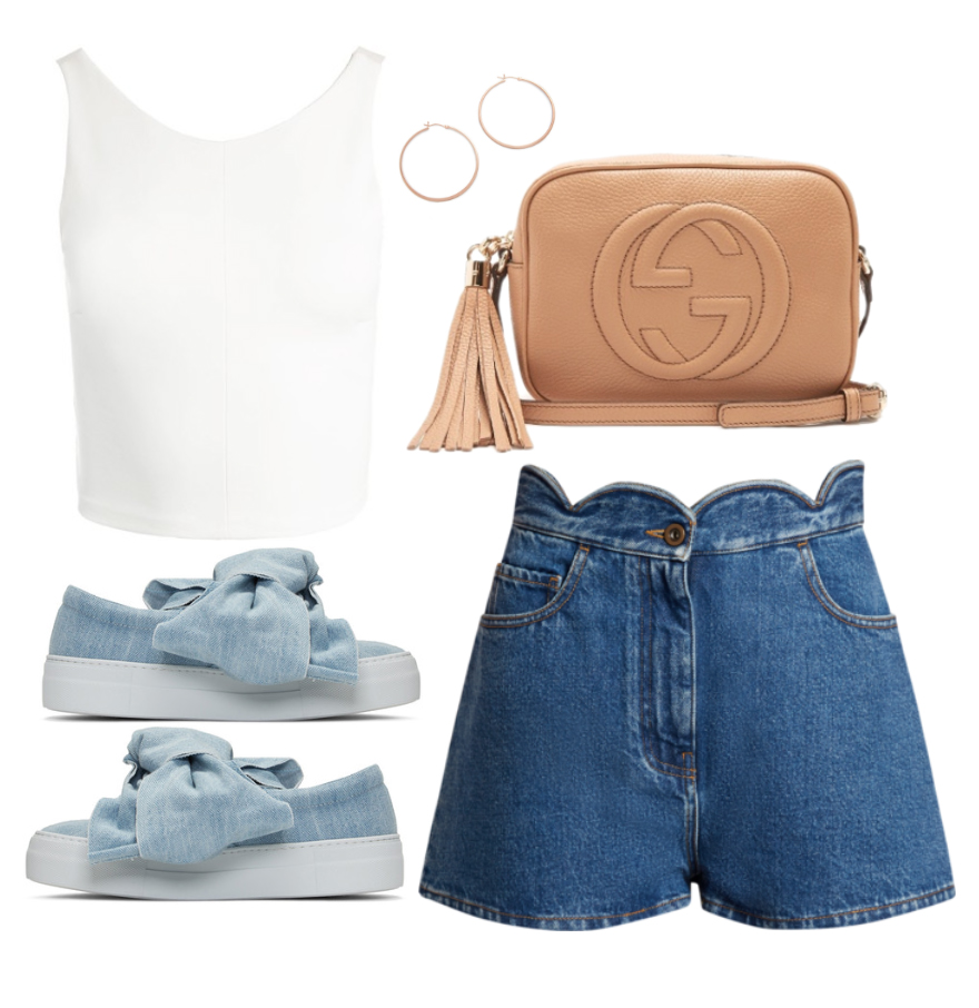 Top:  Sans Sa  souci , Shorts:  Valentino , Shoes:  Joshua Sanders , Bag:  Gucci , Earrings:  Jennifer Zeuner