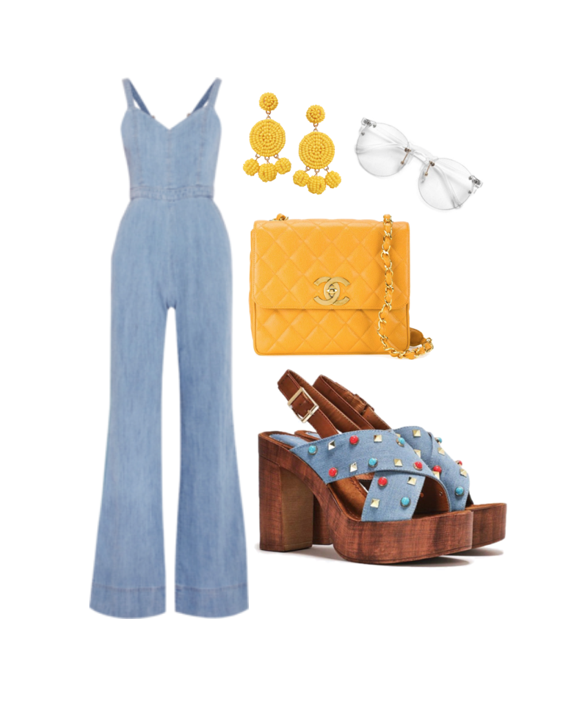Jumpsuit:  Alice & Olivia , Shoes:  NastyGal , Bag:  Chanel , Earrings:  Humble Chic , Sunnies:  Sunglass Spot