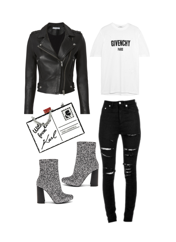 Jeans:  Saint Laurent , Top:  Givency , Clutch:  Karl Lagerfeld , Jacket:  IRO , Boots:  Jeffery Campbell