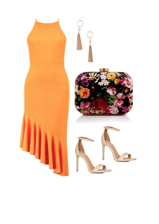 Dress:  BooHoo . Earrings:  Forever21 , Clutch:  InDot , Shoes:  BooHoo ,