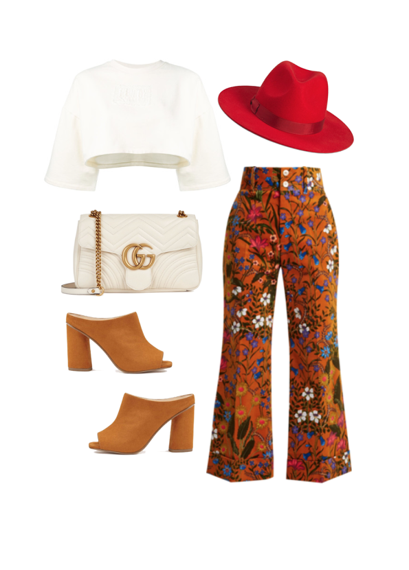 Top:  Fenty , Pants:  Gucci , Bag:  Gucci  , Hat:  Lack of Color , Shoes;  Miss Selfridge
