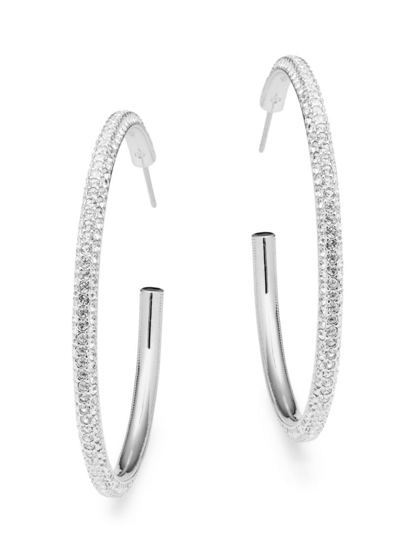 Adriana Orsini - Crystal large Bomber Hoop Earrings,SaksOff5th.com, $250