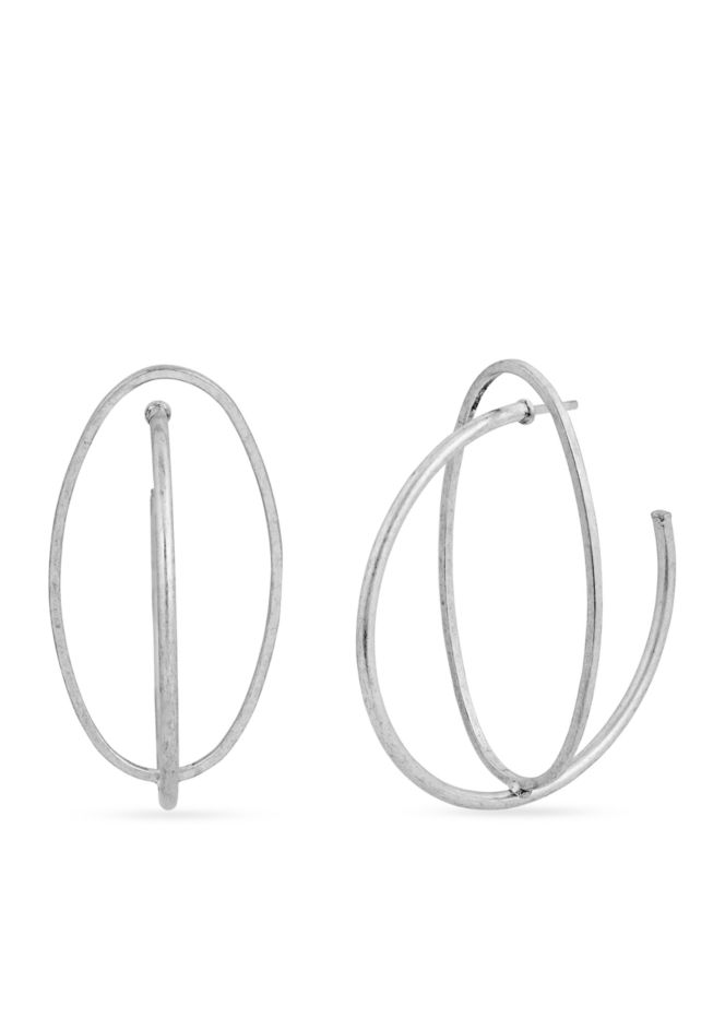 Lucky Brand - Silver-Tone Twisted Orbital Earring, $25