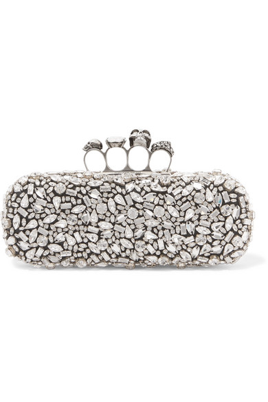 Alexander McQueen - King & Queen Knuckle Swarovski crystal-embellished satin clutch, $4,695