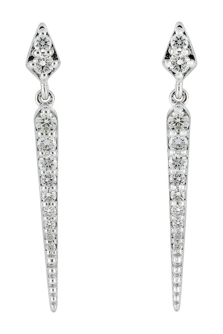 Bony Levy - 18K White Gold Diamond Ice Pick Linear Drop Earrings, $546.97