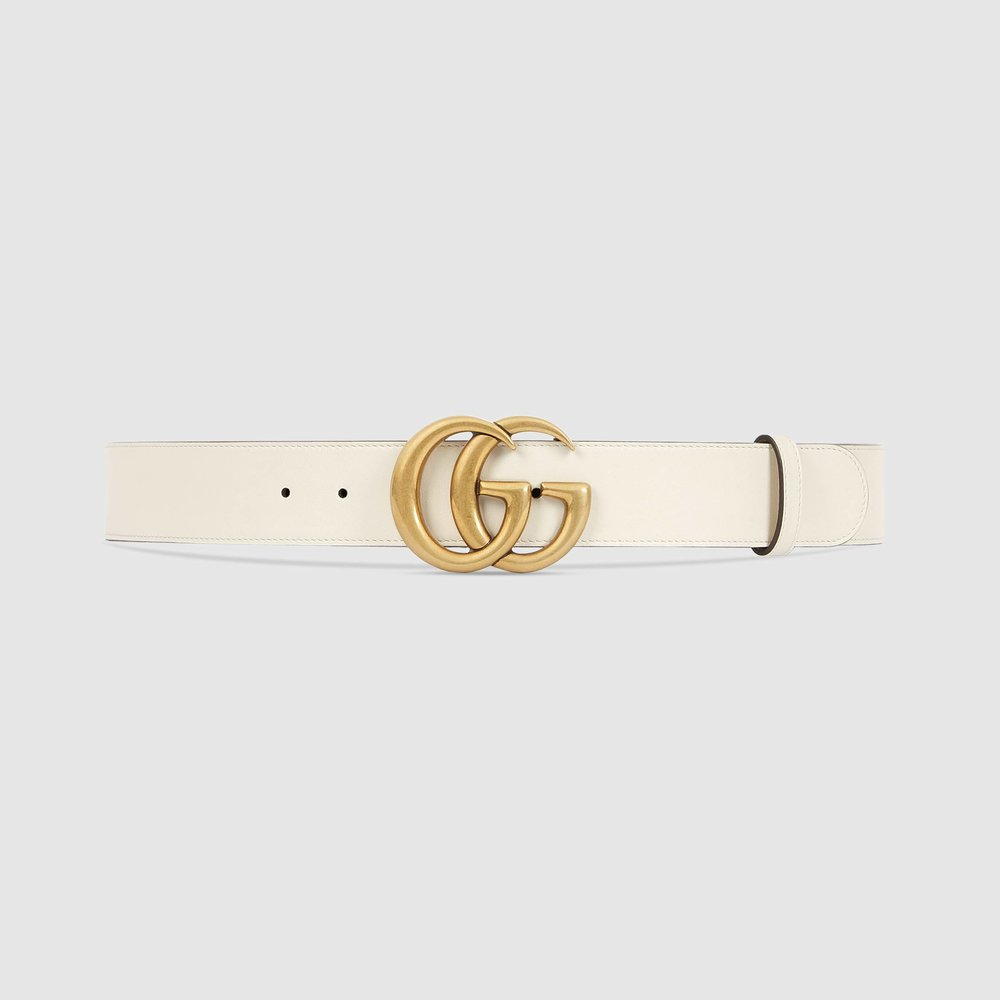 Gucci - Leather belt with Double G buckle, $450