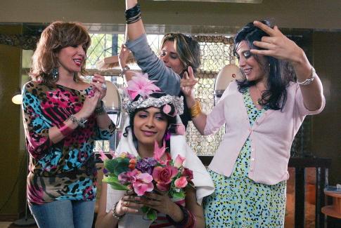 Nadine Labaki (far right) on the set of Caramel