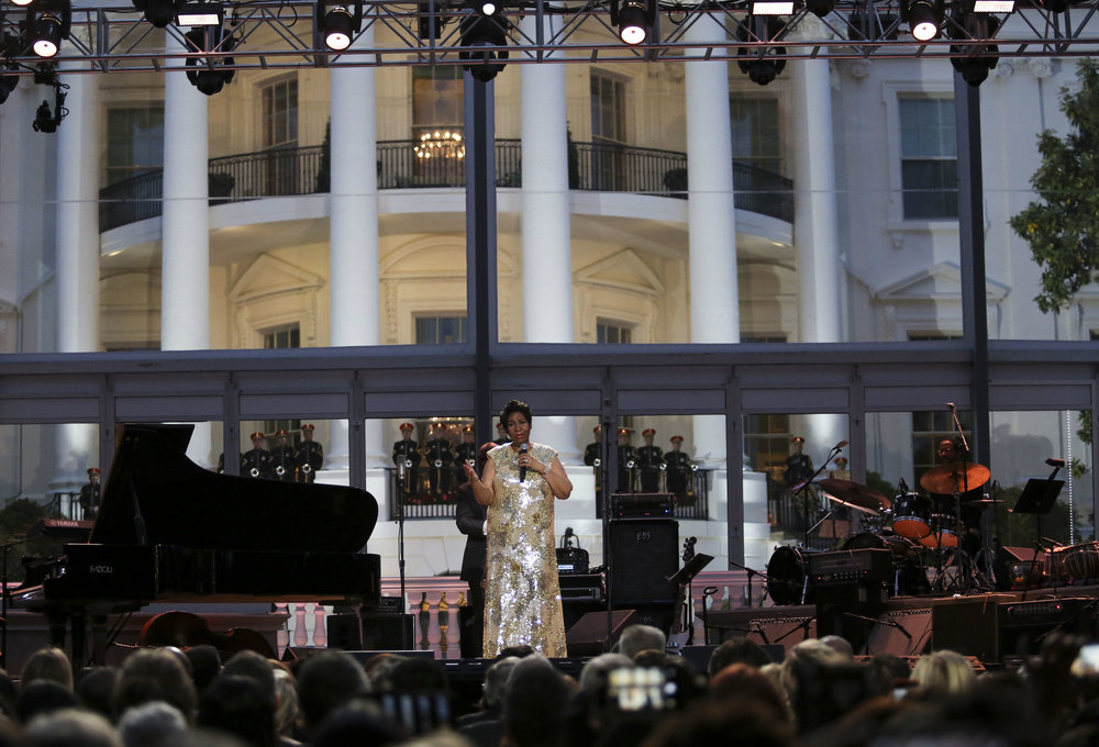 Aretha Franklin performs at the International Jazz Day Concert on the South Lawn of the White House on April 29, 2016 in Washington, DC. Photo: Getty Images