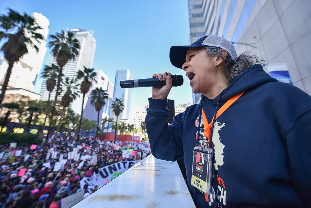 Gina Belafonte speaks to the crowd during Women's March Los Angeles on January 21, 2017 in Los Angeles, California. (Photo by Brandon Williams/Getty Images)