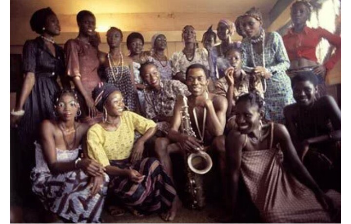 fela kuti and some of his wives - photo: unknown.