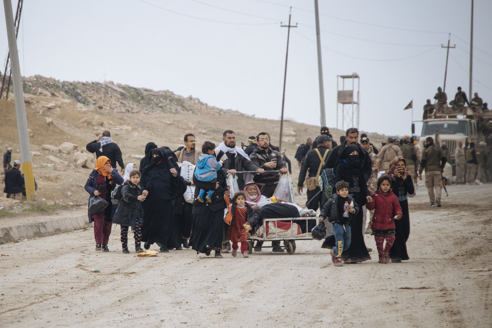 South of the Mosul airport, civilians continued to arrive from the city and transported to displaced camps.