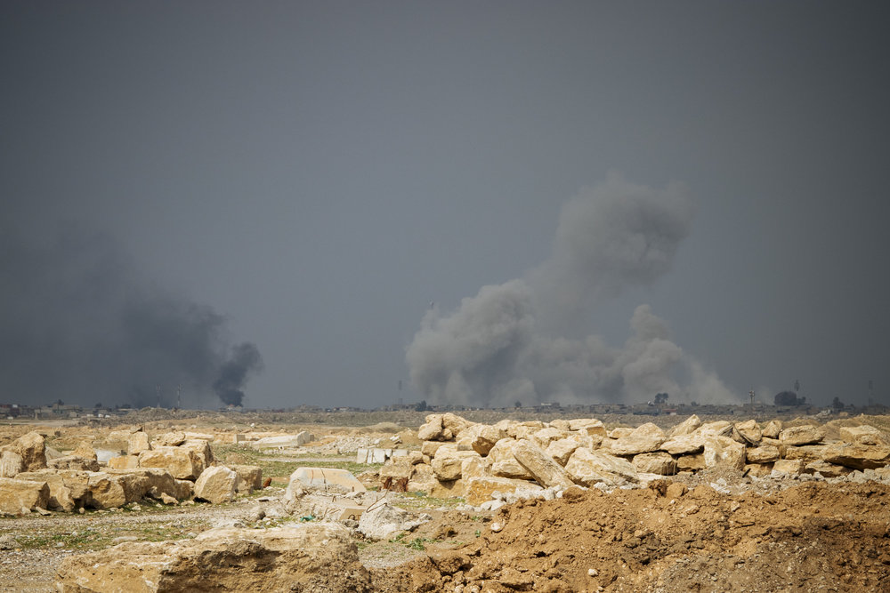 USA airstrike hitting ISIS targets. Photo taken from Mosul airport.