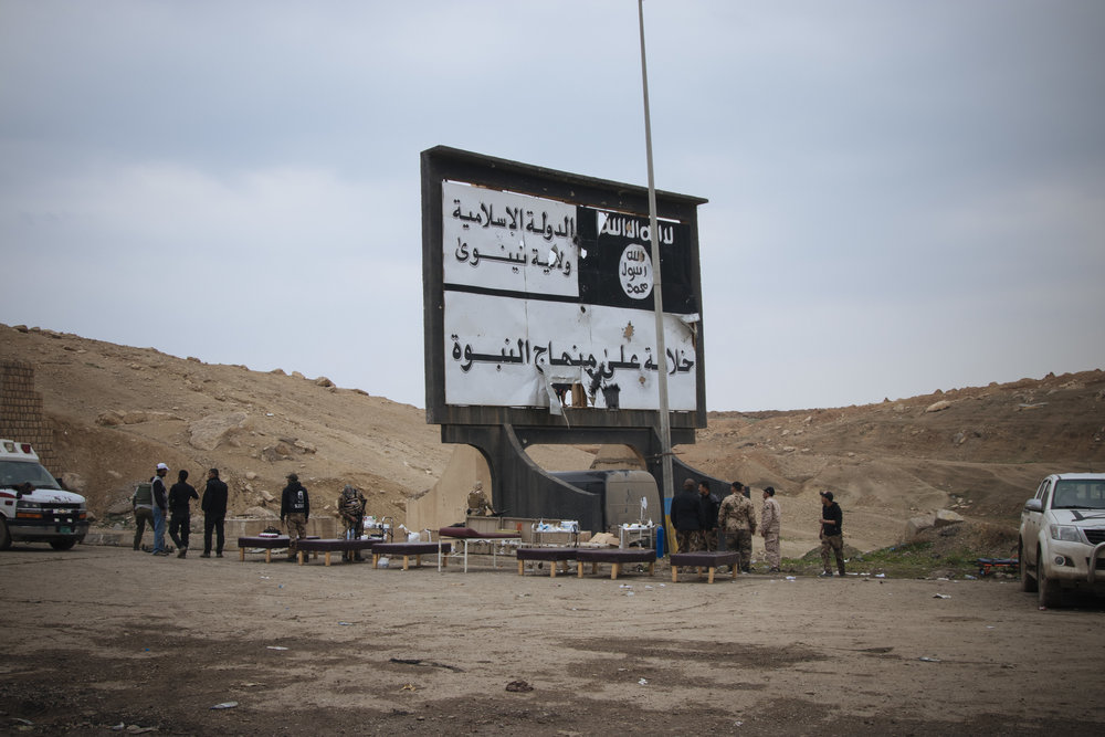 Recently liberated area from ISIS that was being used as medical field clinic. Location was south of the Mosul airport.