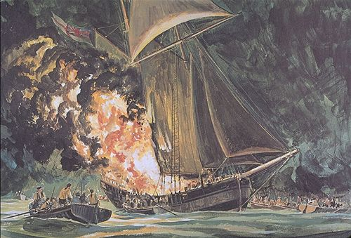 Sinking of the HMS Gaspee. Naval War College Museum (Newport, RI).