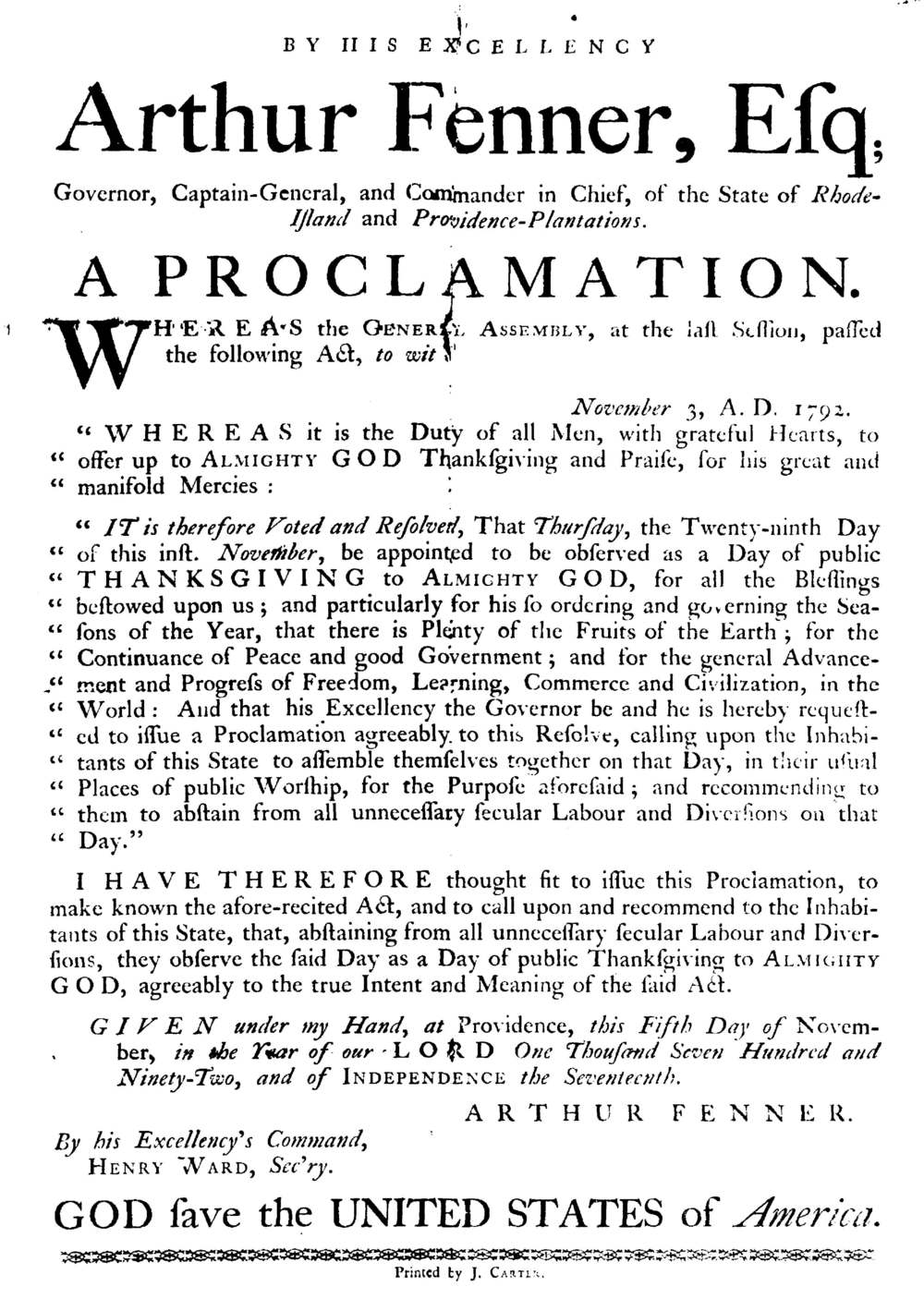 Proclamation for the observance of Thanksgiving, 1792. (www.classicapologetics.com)