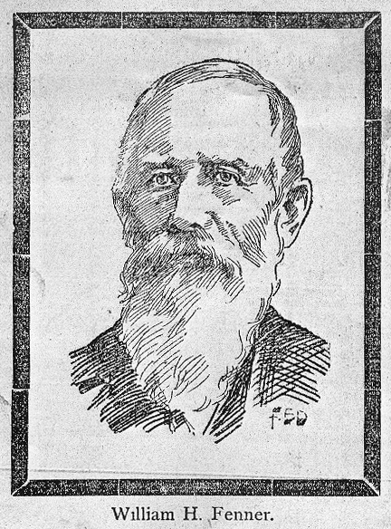 "Ink portrait, published the day of his death [unknown newspaper]; ""The well-known ex-councilman died at an early hour this morning."" 14 Nov. 1896."