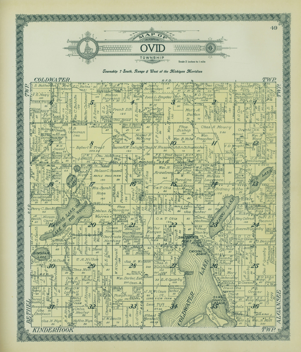 Property map of Ovid Township. See section 18 (click to enlarge).