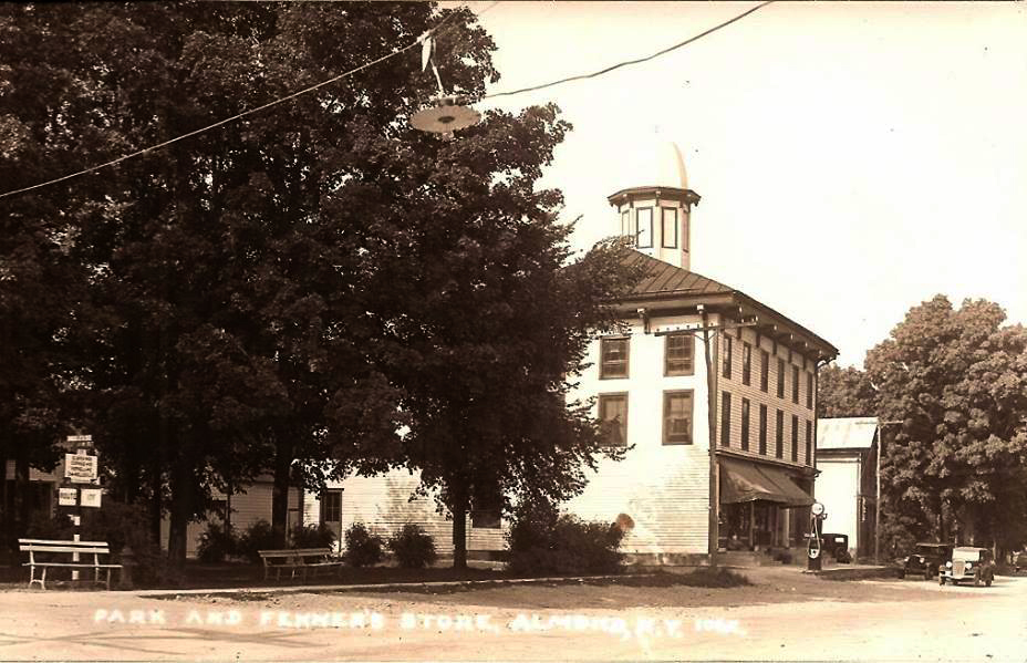 Park & Fenner Store, Almond, NY. Structure built in 1860, acquired by Andrew Jackson Fenner in 1887. His son William Laverne Fenner bought partial ownership in 1892 as A.J. Fenner & Sons General Merchandise, then W.L. Fenner & Co.