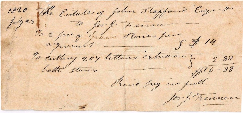 Bill for a gravestone inscription, 1820. Image courtesy of Tony Fenner.