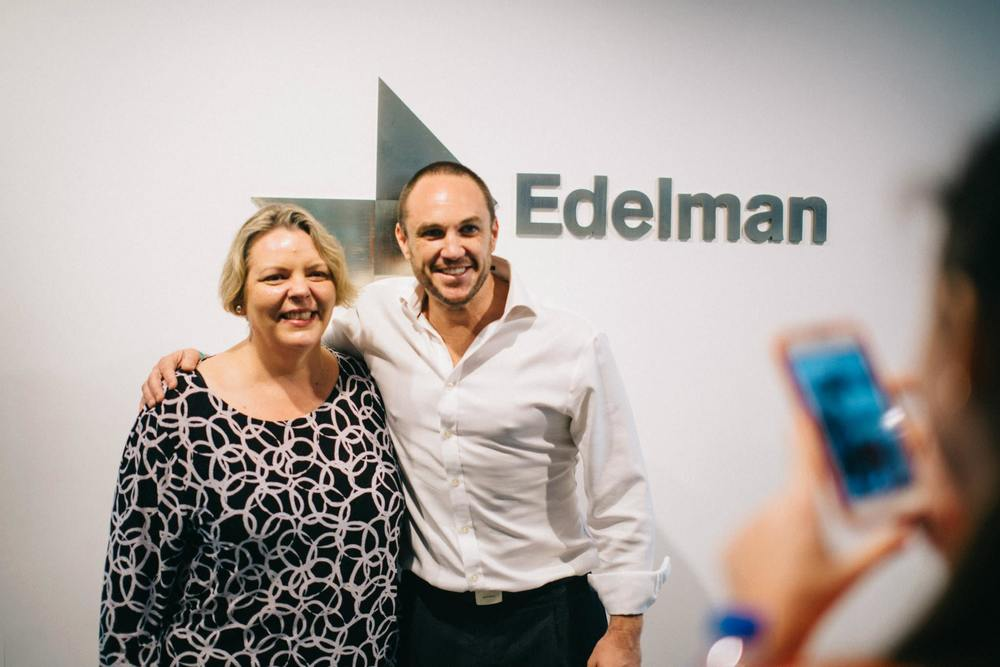 Ingrid Larkin and Andrew Kirk, General Manager of Edelman Hong Kong