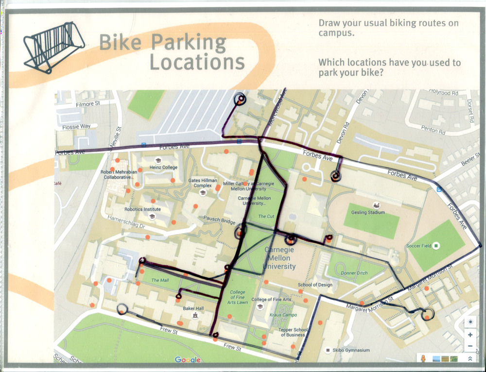 Bike Location Map that has been filled out by a participant