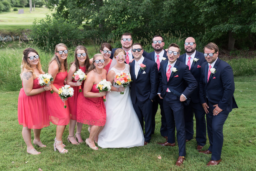 Fun and Silly bridal party at Great Bear Golf Club in East Stroudsburg Pennsylvania. Photography by Smile Peace Love Creative wedding photography.
