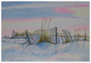 Sunset in Seagrove Beach. Watercolor by David Orme-Johnson.