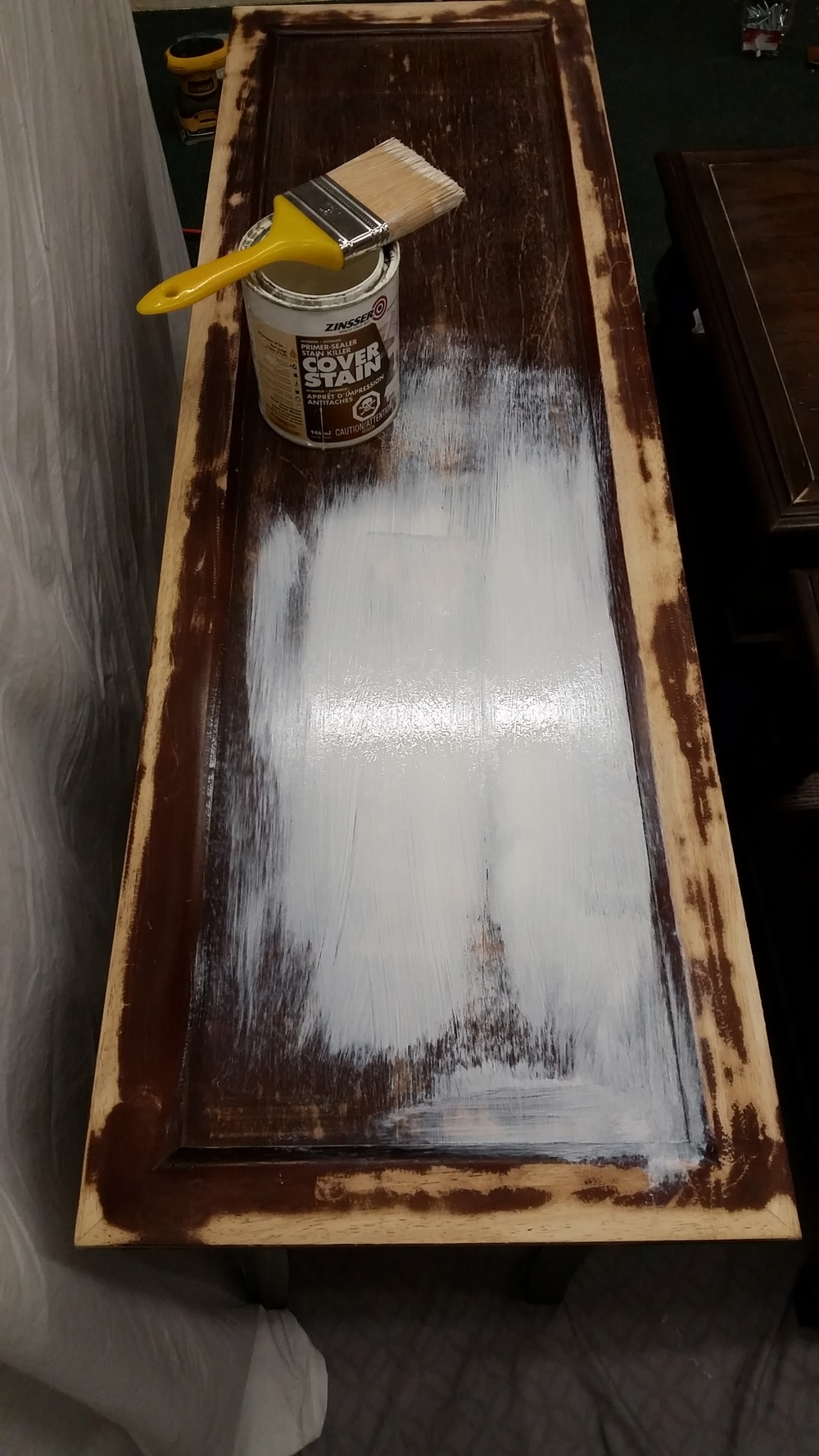 Make sure that before you put your primer on, the piece is sanded enough that there is not bubbling or loose chipping left over from the previous finish.