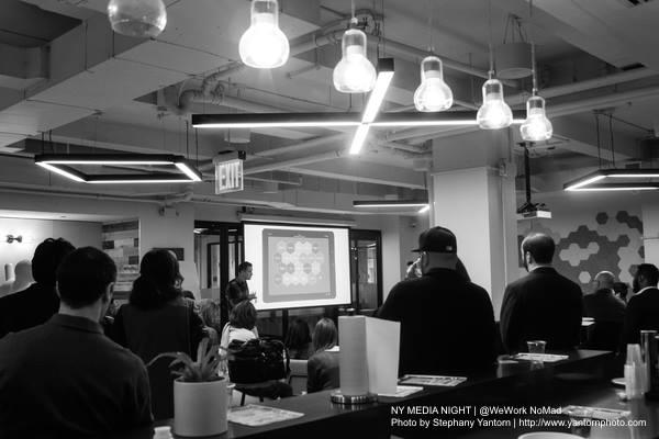 Creatives and Entrepreneuras gather together to see presentations from innovative media startups during NY MEDIA NIGHT hosted by NYFL at WeWork