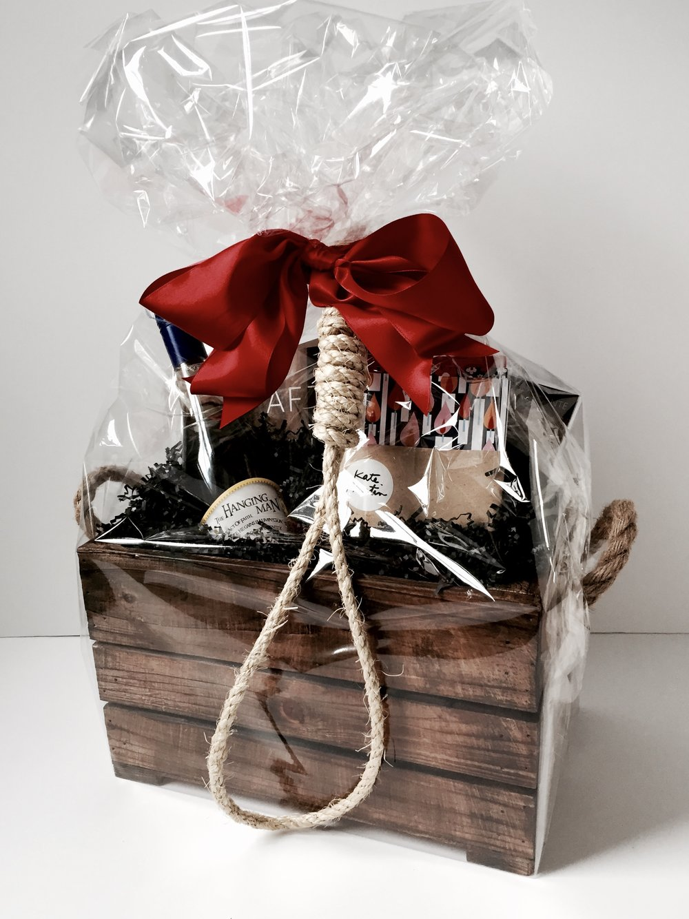 """Drop Dead"" book launch gift basket wrapped by Corinna vanGerwen"