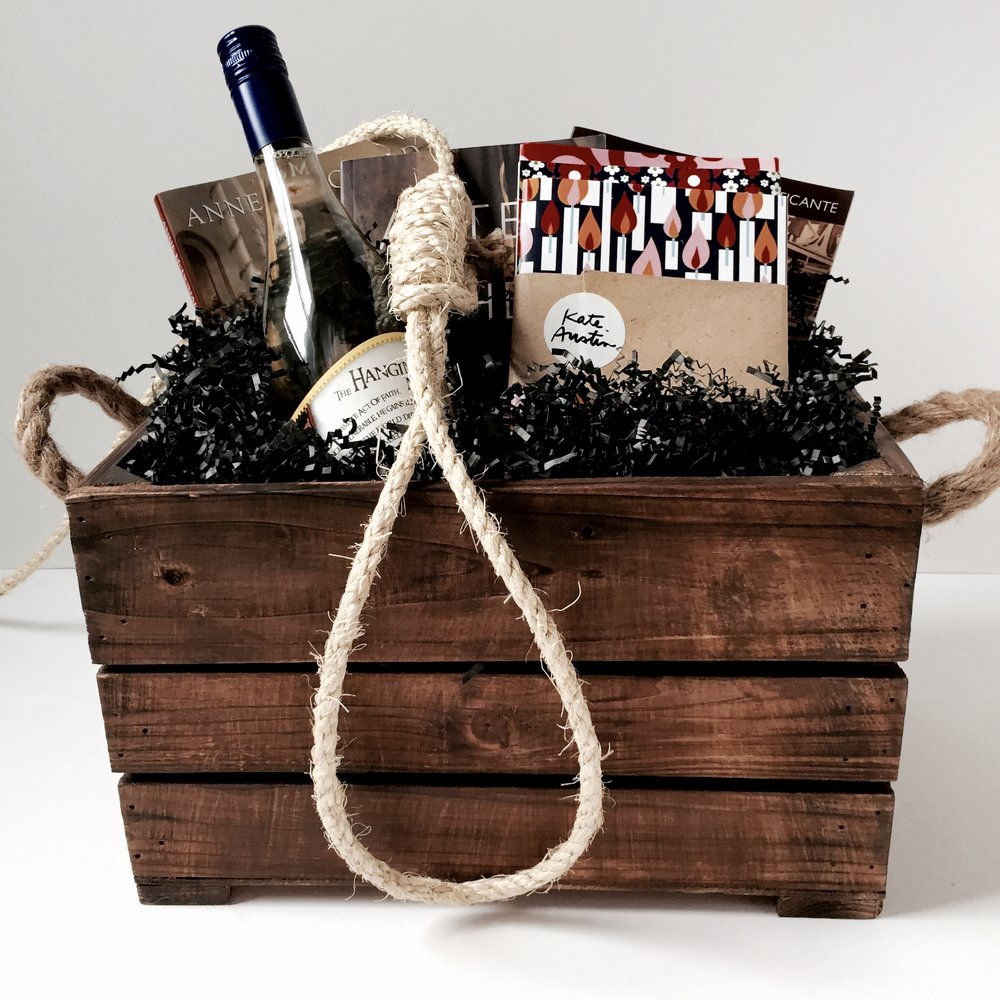 "Gift basket for launch event of ""Drop Dead"" by Lorna Poplak. Wrapped by Corinna vanGerwen"
