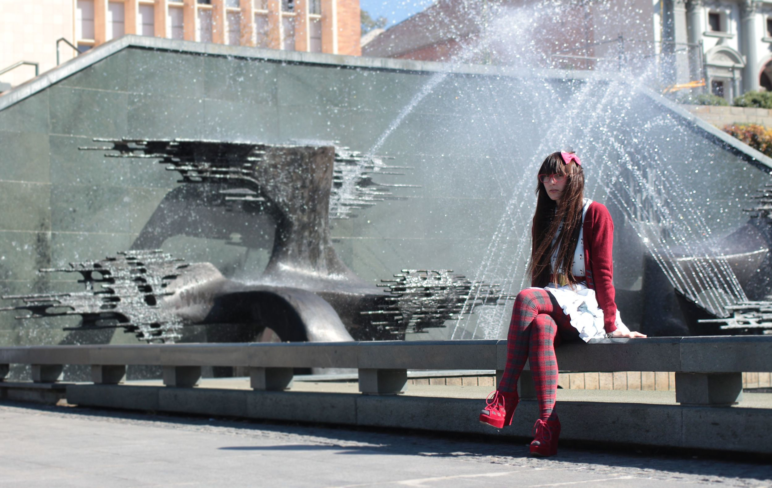 sittingby the fountain