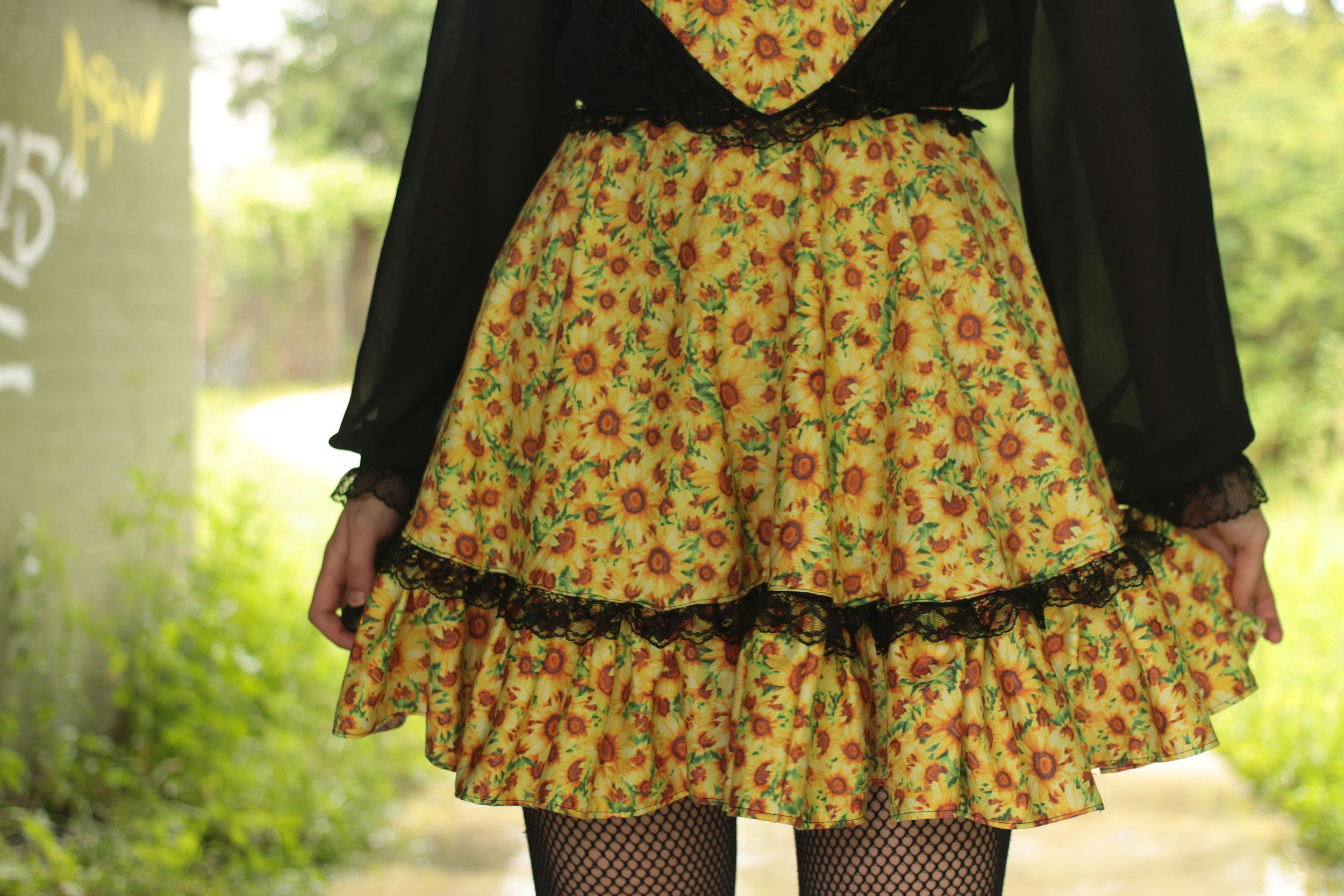 Sunflower Pinafore Skirt Detail The Emerald Ruby