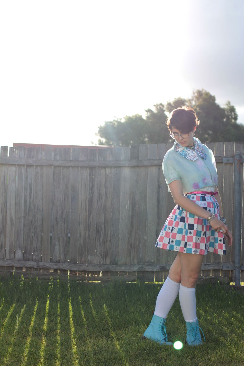 Bolero: Lady Petrova, Shirt: Ebay, Belt: Kmart, Skirt: Home made, Socks: Socks and more, Boots: Dr Martens.