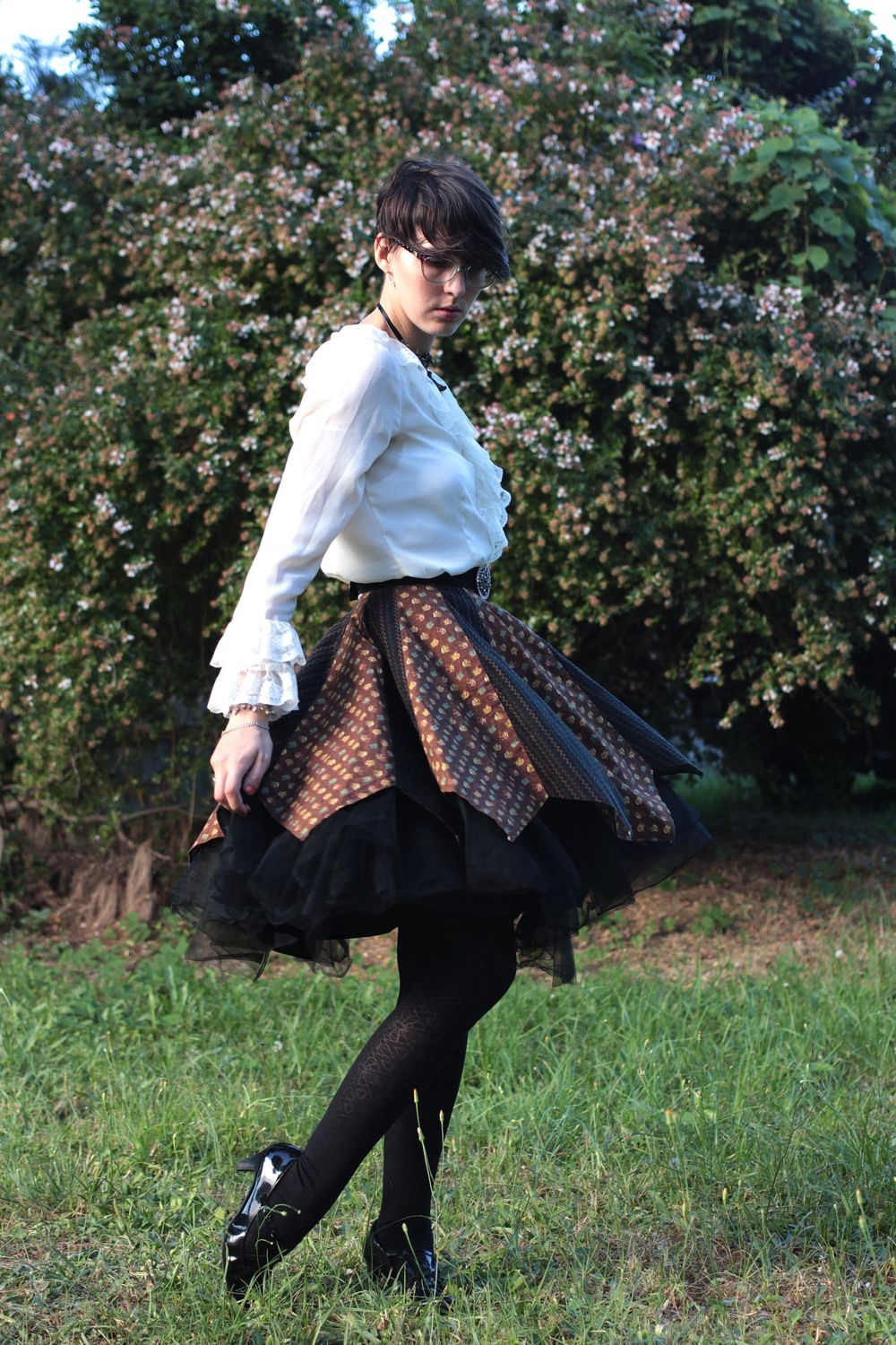 Shirt: Thrifted, Skirt Home Made, Belt: Thrifted, Tights: Coles, Shoes: so soft