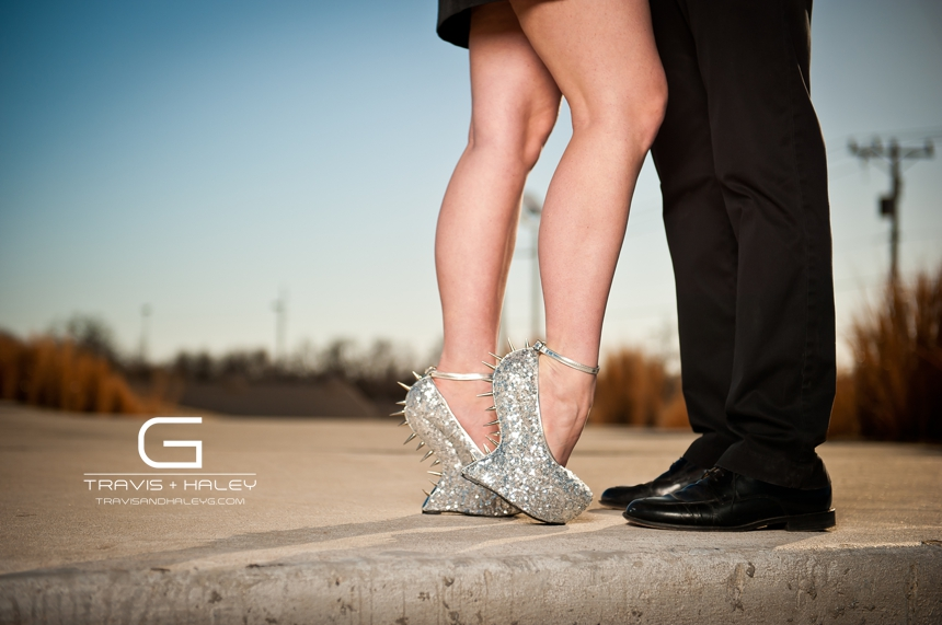 silver heels spikes romantic engagement photography travis + haley g
