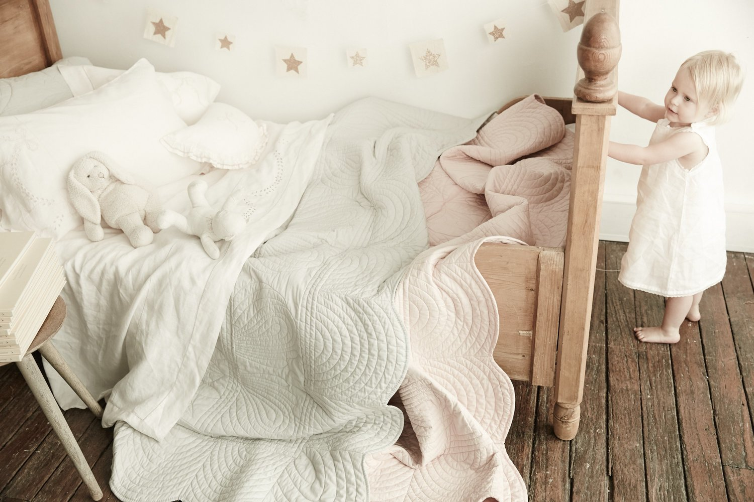 King Single Bedspread Quilt and Pillow Set - Shell Pink — Bonne ... : single quilted bedspreads - Adamdwight.com