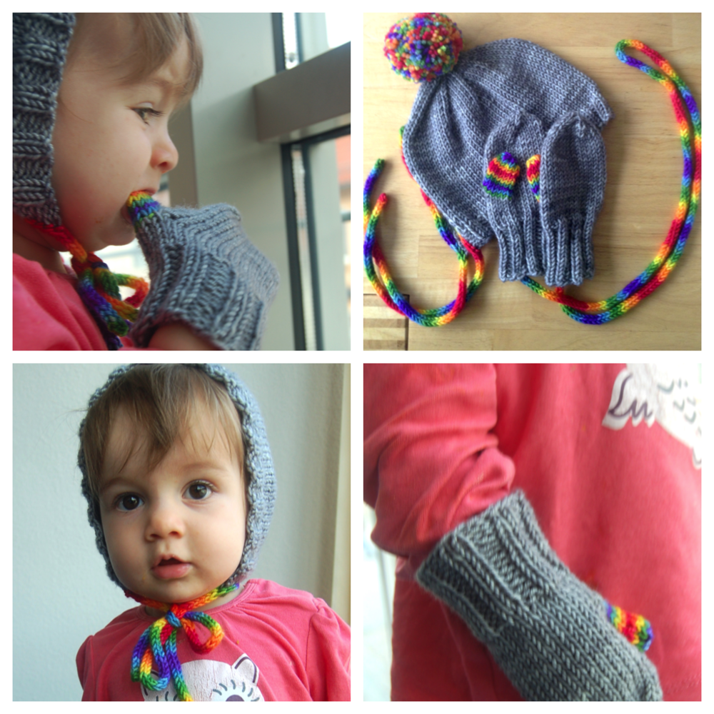 Rainbow Bonnet and Mitten set