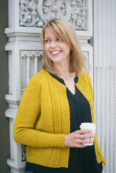 Marie wearing her Southwell Cardigan