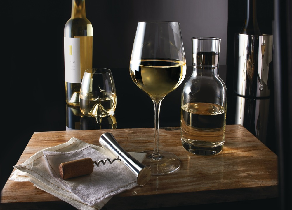 Elegance Wine tumbler, Sauvignon Blanc glass and Individual Carafe